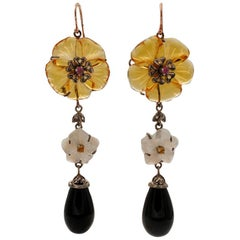 Diamonds, Onyx, Mother of Pearl, 9k Rose Gold and Silver Vintage Dangle Earrings