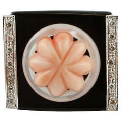 Diamonds, Onyx, Mother of Pearl, Carved Coral, Rose Gold Fashion Ring