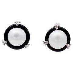 Diamonds, Onyx, Pearls, 14 Karat White and Rose Gold Stud Earrings