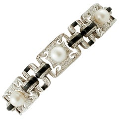 Diamonds, Onyx, Pearls, White Gold Link Retrò Bracelet