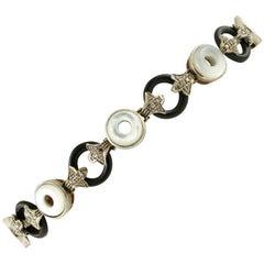 Diamonds, Onyx, White Hard Stone, 9 Karat Rose Gold and Silver, Retro Bracelet