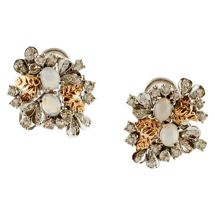 Diamonds, Opals, White and Yellow Gold Retro Earrings