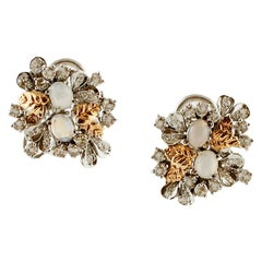 Diamonds, Opals, White and Yellow Gold Retro Earrings