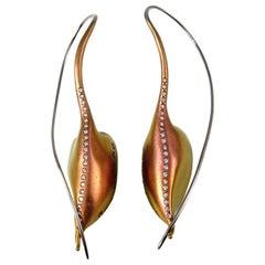 Diamonds Orange Sapphire Titanium Earrings One of the Kind