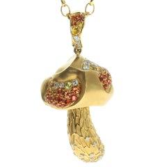 Diamonds Orange Yellow Sapphire 18 Karat Yellow Gold Mushroom Pendant