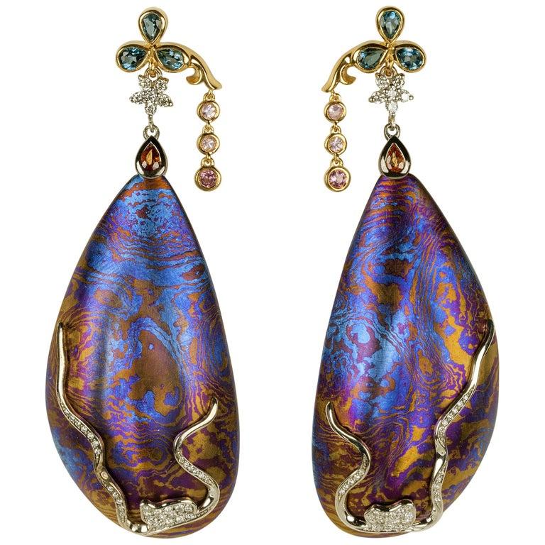 Diamonds Padparadscha Sapphires Tourmalines 18 Karat Gold Timascus Earrings For Sale