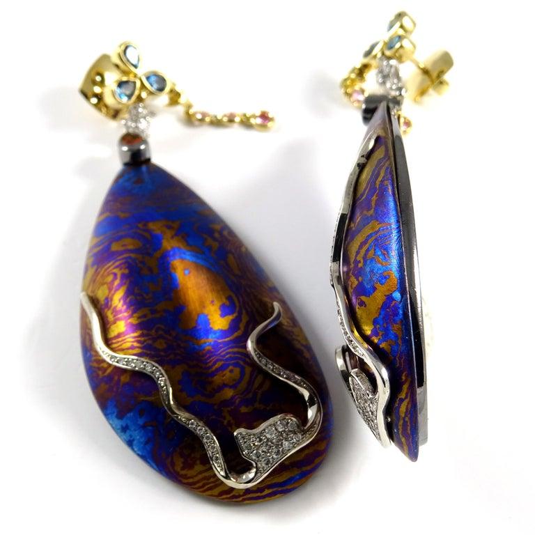 Diamonds Padparadscha Sapphires Tourmalines 18 Karat Gold Timascus Earrings For Sale 4