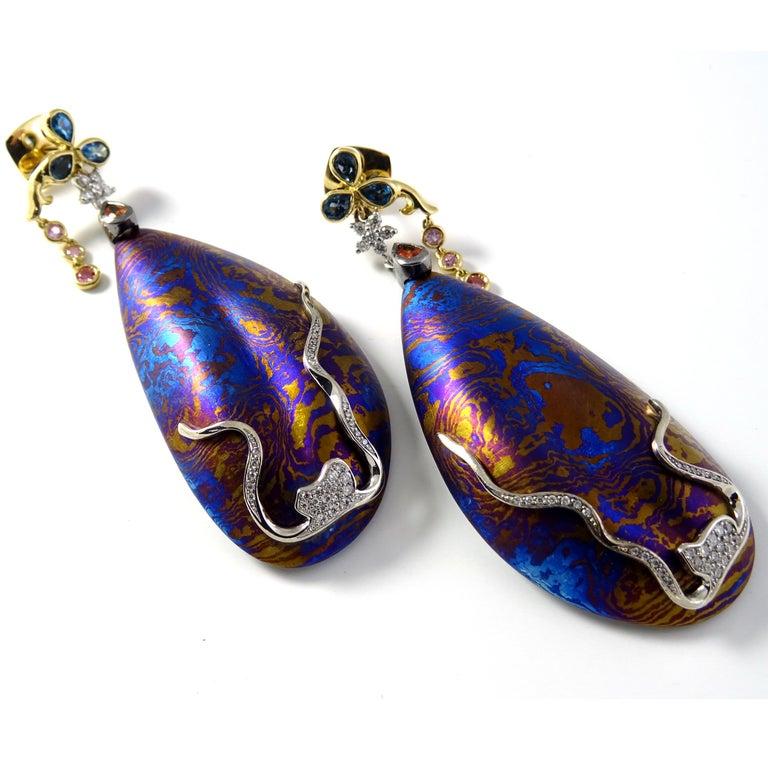 Diamonds Padparadscha Sapphires Tourmalines 18 Karat Gold Timascus Earrings For Sale 5