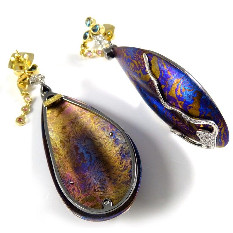Diamonds Padparadscha Sapphires Tourmalines 18 Karat Gold Timascus Earrings For Sale 6