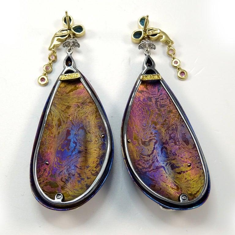 Diamonds Padparadscha Sapphires Tourmalines 18 Karat Gold Timascus Earrings For Sale 7
