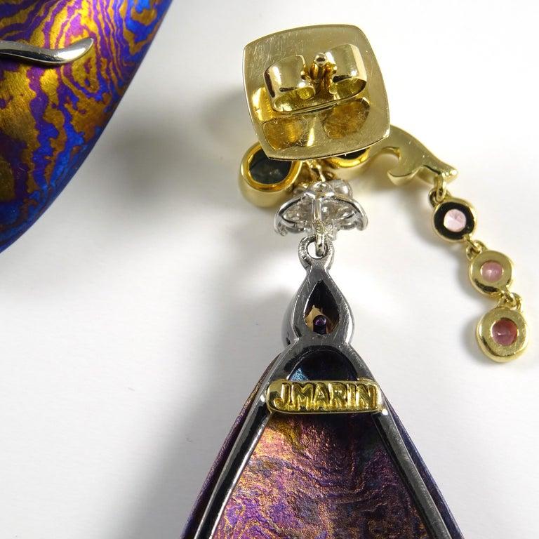 Diamonds Padparadscha Sapphires Tourmalines 18 Karat Gold Timascus Earrings For Sale 9