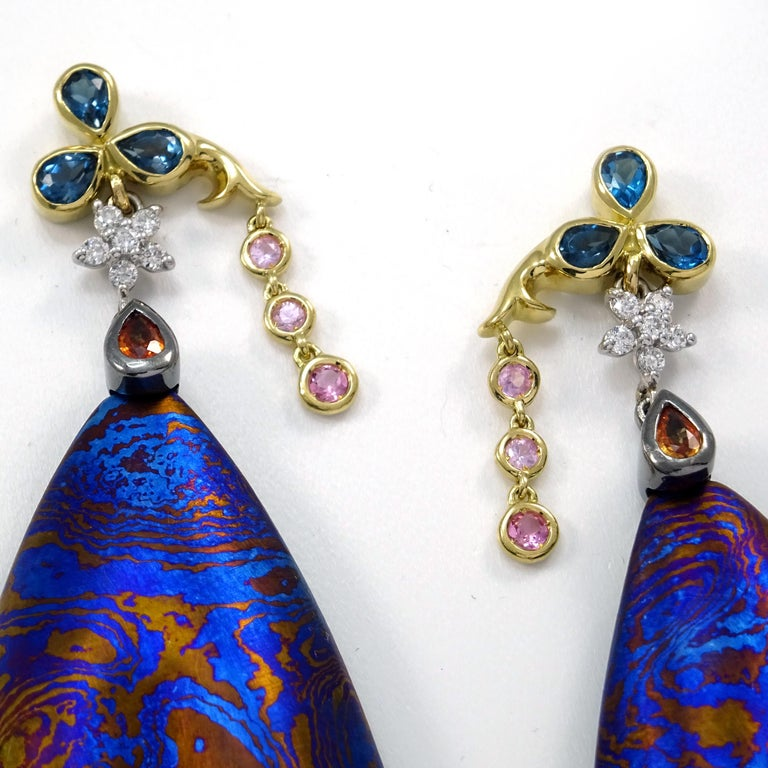 Contemporary Diamonds Padparadscha Sapphires Tourmalines 18 Karat Gold Timascus Earrings For Sale
