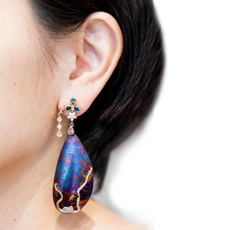 Men's Diamonds Padparadscha Sapphires Tourmalines 18 Karat Gold Timascus Earrings For Sale