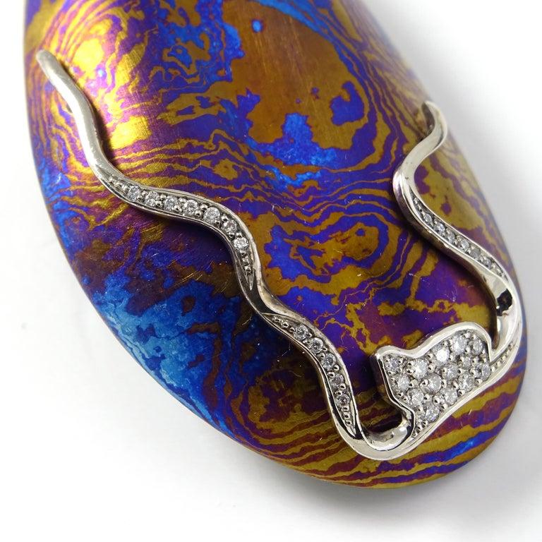 Diamonds Padparadscha Sapphires Tourmalines 18 Karat Gold Timascus Earrings For Sale 2