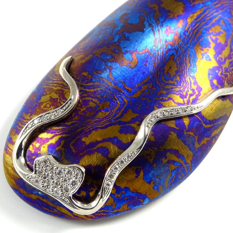 Diamonds Padparadscha Sapphires Tourmalines 18 Karat Gold Timascus Earrings For Sale 3