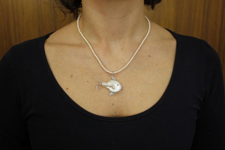 Women's Diamonds, Pearl 14 Karat White Gold Lovely Fish Pendant For Sale