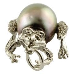 Diamonds, Pearl, 14 Karat White Gold Pendant