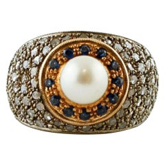 Diamonds, Pearl, Blue Sapphires, 14 Karat Yellow Gold and Silver Retro Ring
