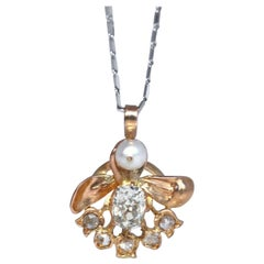 Diamonds Pearl Pink Gold Angel Pendant, 1920