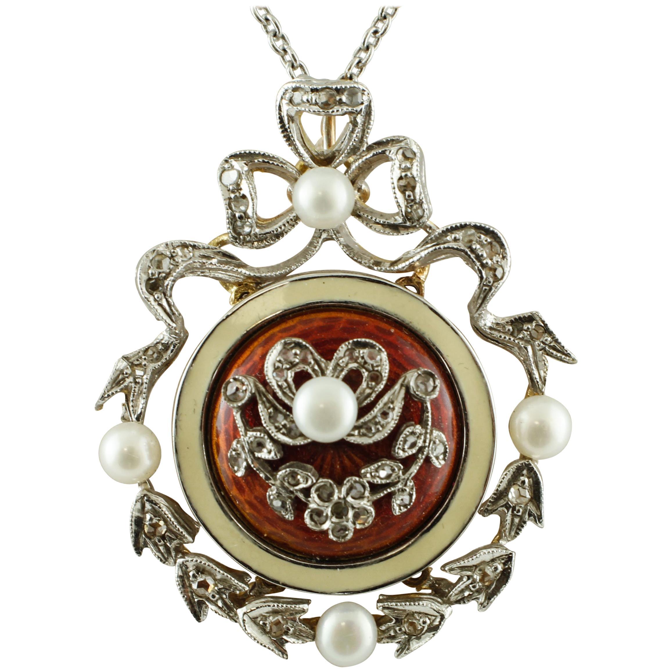 Diamonds, Pearls, 14 Karat White Gold Necklace with Pendant