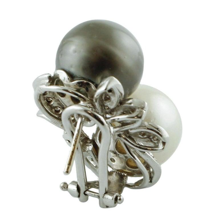 Retro Diamonds, Pearls, 14 Karat White Gold Stud Earrings For Sale