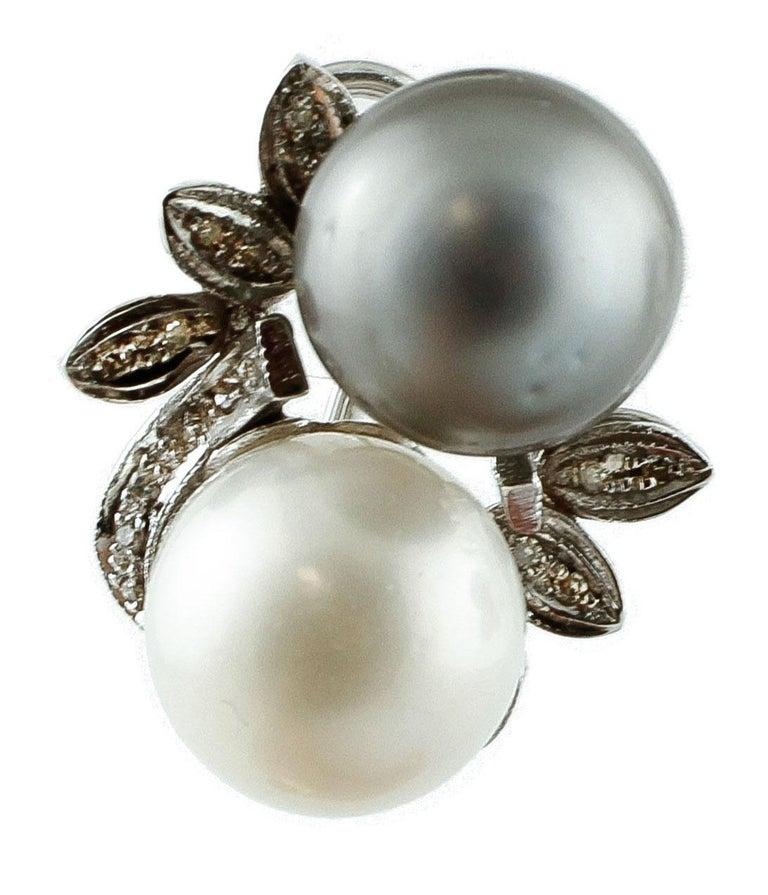 Women's Diamonds, Pearls, 14 Karat White Gold Stud Earrings For Sale