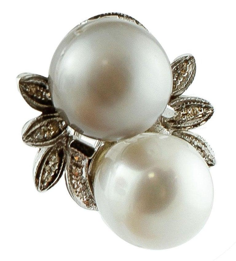 Diamonds, Pearls, 14 Karat White Gold Stud Earrings For Sale 1