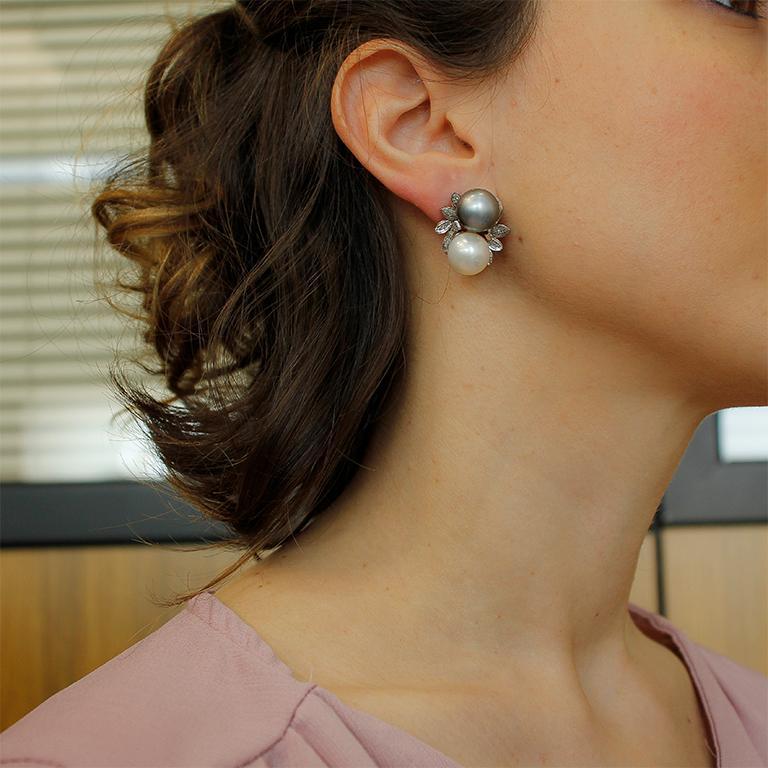Diamonds, Pearls, 14 Karat White Gold Stud Earrings For Sale 2