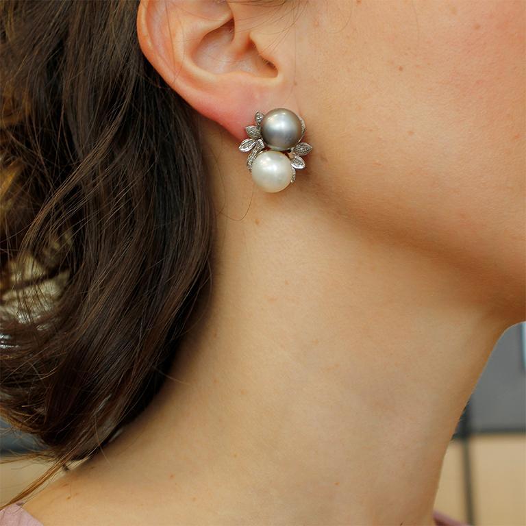 Diamonds, Pearls, 14 Karat White Gold Stud Earrings For Sale 3