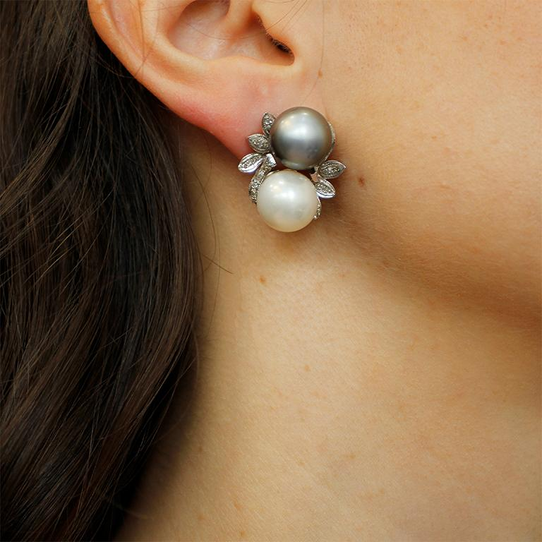 Diamonds, Pearls, 14 Karat White Gold Stud Earrings For Sale 4