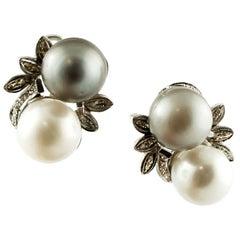Diamonds, Pearls, 14 Karat White Gold Stud Earrings