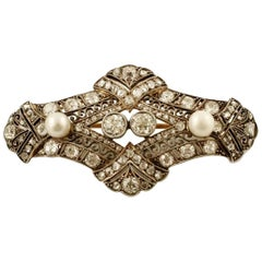 Diamonds, Pearls, 18 Karat Yellow Gold and Silver Retro Brooch
