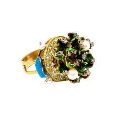 Diamonds Pearls 18 Karat Yellow Gold Cocktail Ring