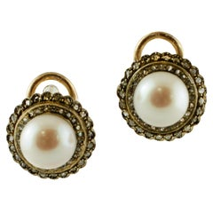 Diamonds, Pearls, 9 Karat Rose Gold and Silver Retro Stud Earrings