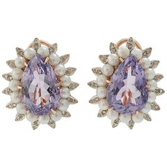 Diamonds Pearls Amethyst Rose Gold and Silver Earrings