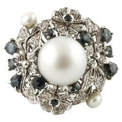 Diamonds, Pearls, Blue Sapphires, 14 Karat White Gold Cluster Ring