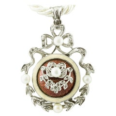Diamonds, Pearls, Hard Stone, 14 Karat White Gold Retro Pendant