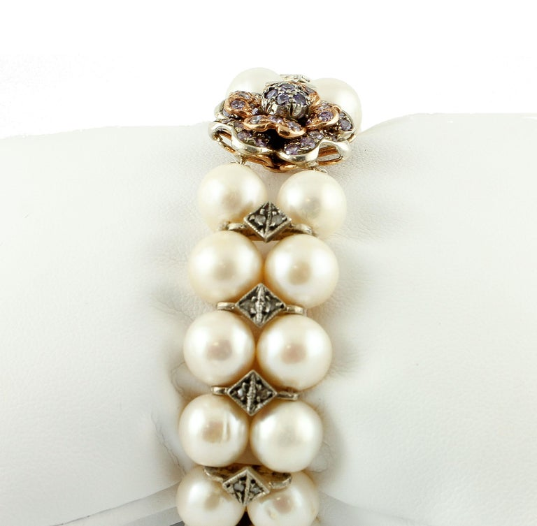 Retro Diamonds, Pearls, Hard Stone, 9 Karat Rose Gold and Silver Beaded Bracelet For Sale
