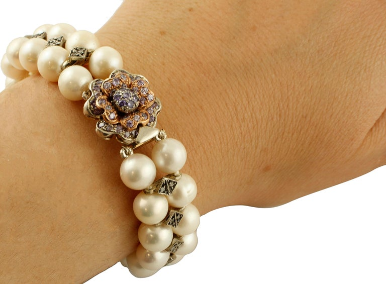 Diamonds, Pearls, Hard Stone, 9 Karat Rose Gold and Silver Beaded Bracelet For Sale 2