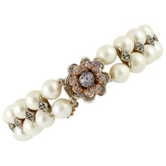 Diamonds, Pearls, Hard Stone, 9 Karat Rose Gold and Silver Beaded Bracelet