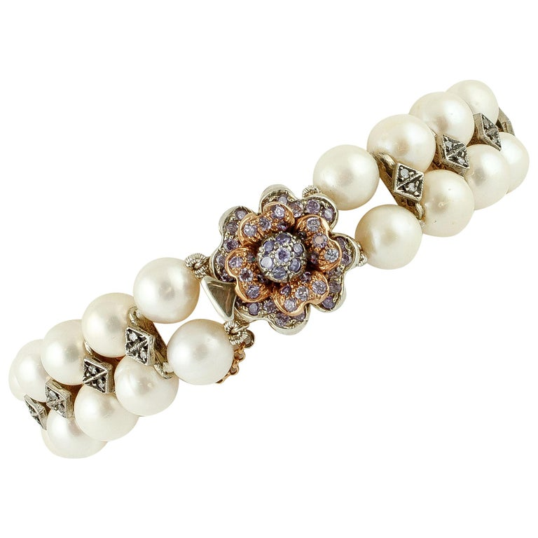Diamonds, Pearls, Hard Stone, 9 Karat Rose Gold and Silver Beaded Bracelet For Sale