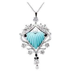 Diamonds, Pearls, Onyx, Turquoise, 18 Karat White Gold and Platinum Necklace