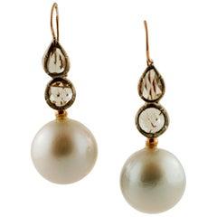 Diamonds, Pearls, Rose Gold and Silver Level-Back Retrò Earrings