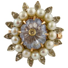 Diamonds, Pearls, Sapphire, 9 Karat Rose Gold and Silver Ring