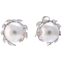 Diamonds Pearls White Gold Earrings