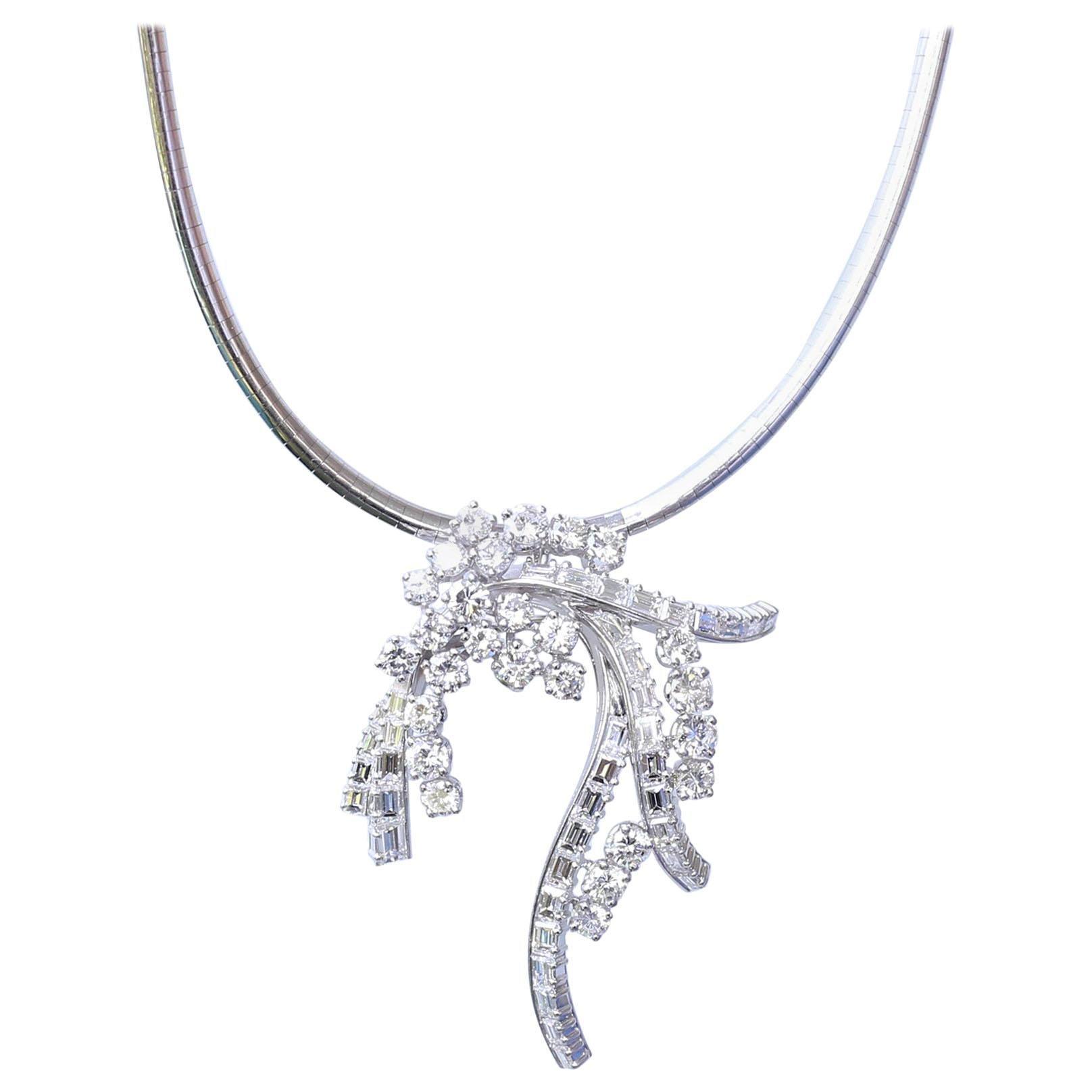 Diamonds Pendant Cord Brooch Pin 18k White Gold, 1970
