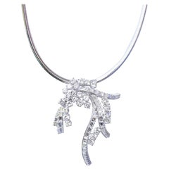 Diamonds Pendant Cord Brooch Pin 18k White Gold, 1970