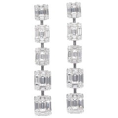 Diamonds Pendant Earrings Baguettes and Round Diamond
