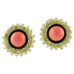 Diamonds, Peridots, Onyx, Coral, 14 Karat Rose Gold Clip-On Retrò Earrings