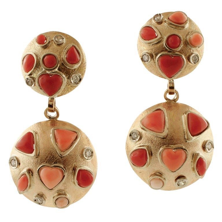 Diamonds, Pink and Red Coral, 14 Karat Rose Gold Earrings For Sale